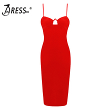 INDRESSME Women Strap V Neck Bandage Dress 2018 New Spaghetti Strap Sexy Bodycon Club Party Dresses For Lady Fashion