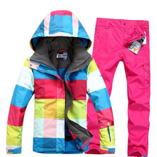 High quality Colorful Rainbow Winter Sports Women Ski Suit Sets Lady Snowboard Clothes 10K waterproof thicken Suit Jacket+Pants