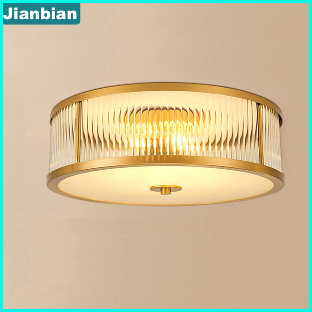 European & American style copper bedroom ceiling lamp LED balcony round lamp simple modern household glass lampshade 2018 HOT