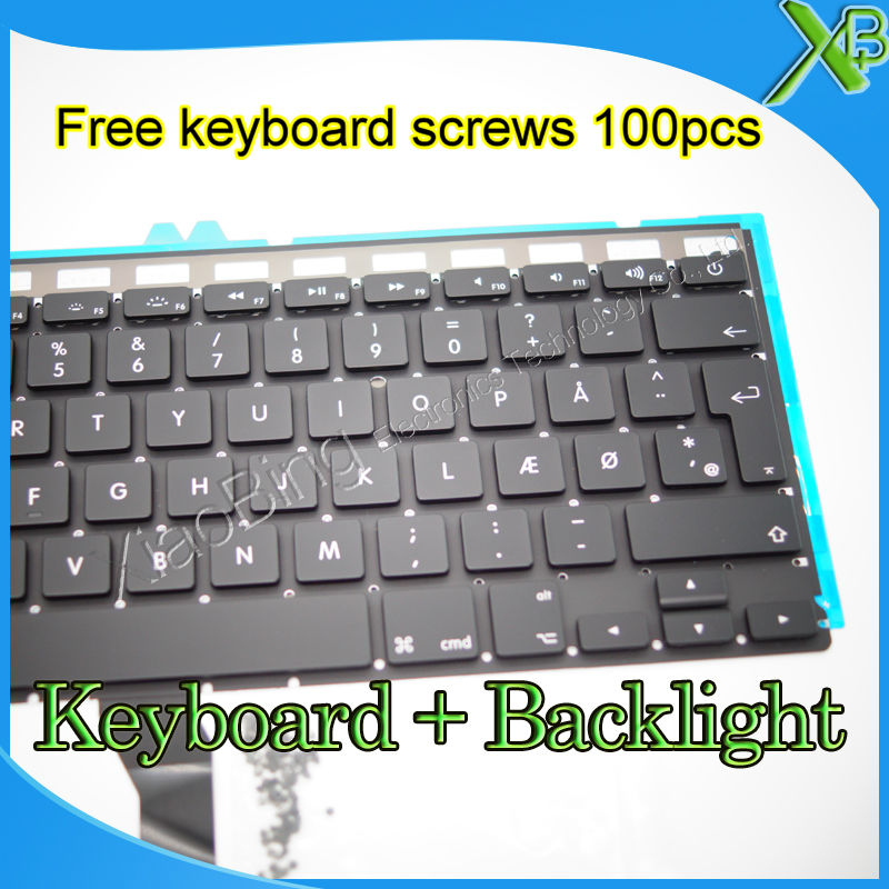 Brand New DK Denmark keyboard+Backlight Backlit+100pcs keyboard screws For MacBook Air 13.3 A1369 A1466 2010-2015 Years