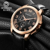 Rose Golde OCHSTIN Top Brand Luxury Business Watch Men Fashion Casual Male Leather Wristwatches Quartz Watch