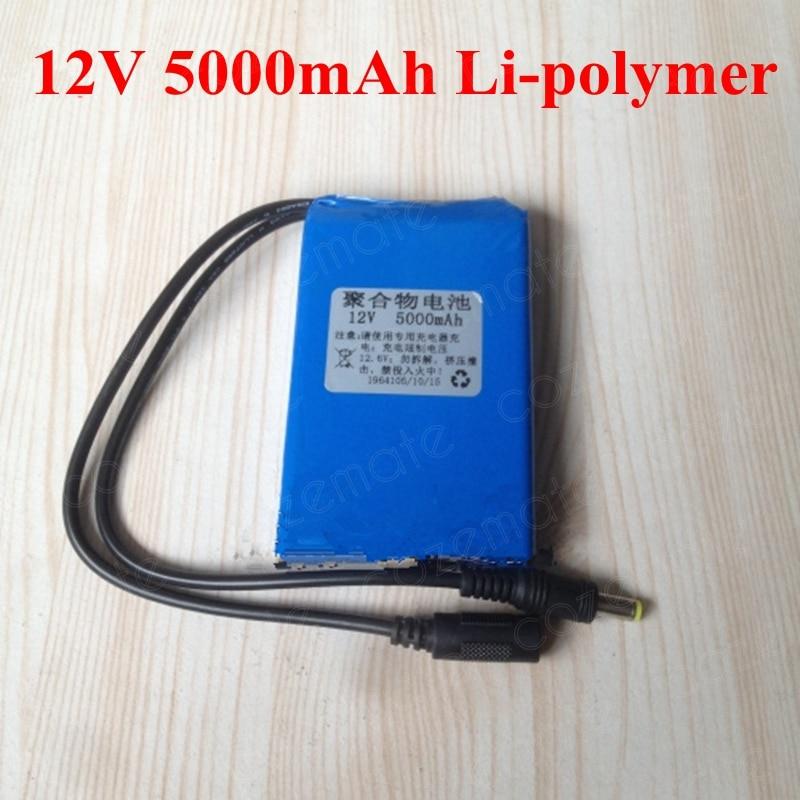 12V 5Ah Lipolymer 12 6V 5000mAh 12V Portable Rechargeable Lithium Battery Pack for CCTV Monitor Hunting