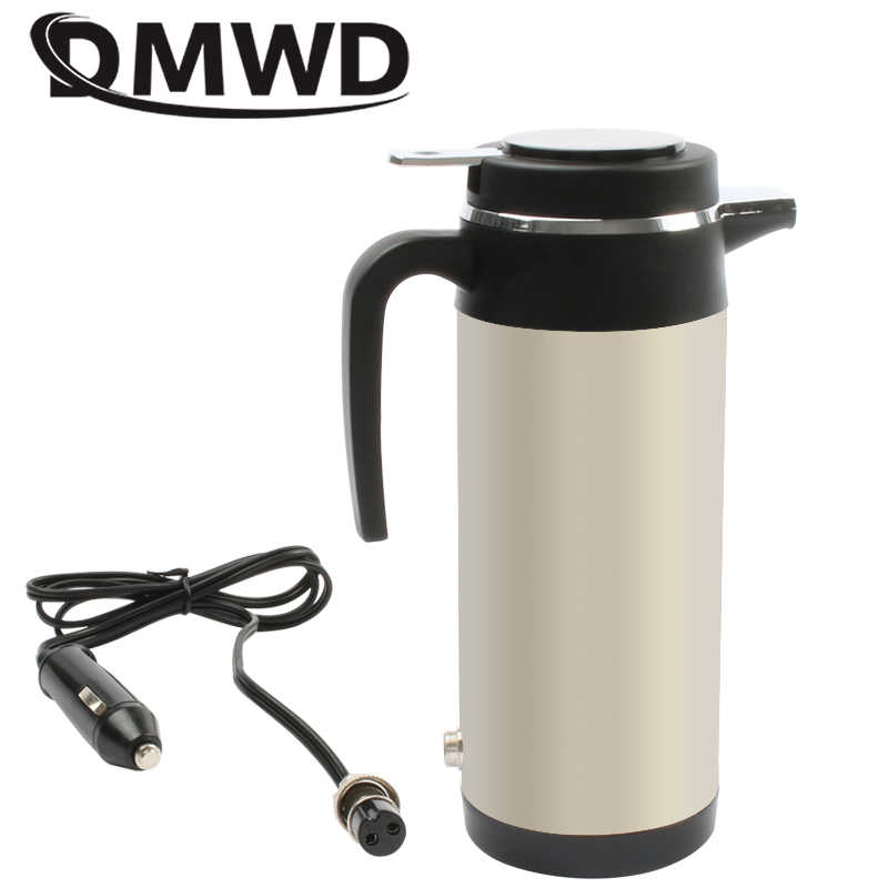 DMWD 12V/24V Vehicle Hot Water Boiling Electric Kettle Travel Truck Thermal Insulation Heating Cup Car Teapot Boiler Bottle 1.2L