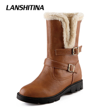 Women Half Boots Inner Boot Winter Warm Boat European American Style Woman Vintage Short Thick Fur Botas Shoes Size 34-43 G106