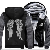 Men man bodybuilding winter fleece Sweatshirt Zombie Daryl Dixon Wings Tracksuit zipper coat Hooded 2019 funny thick jacket down