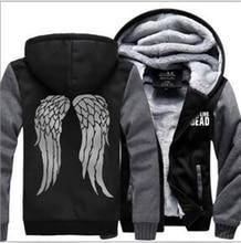 Men The Walking Dead winter fleece Sweatshirt Zombie Daryl Dixon Wings Tracksuit zipper coat Hooded 2016 funny thick jacket down недорого