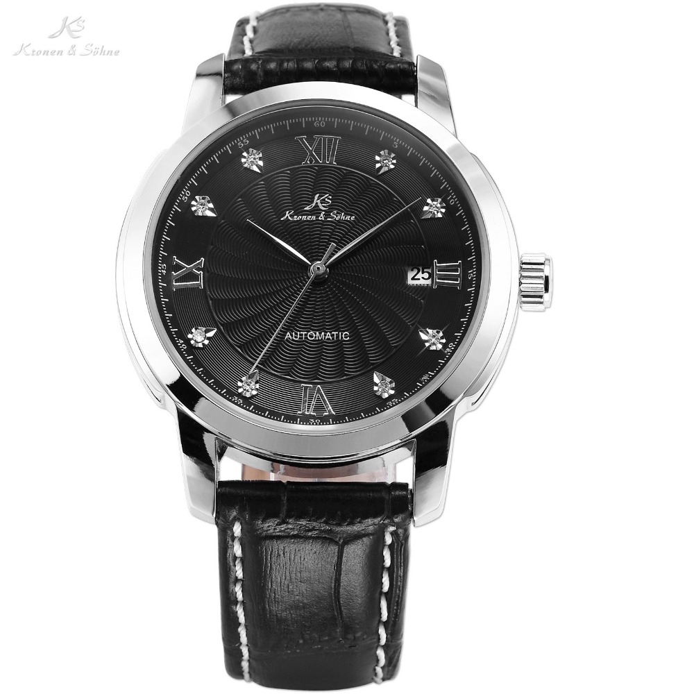Genuine KS Automatic Mechanical Date Display Black Dial Silver Stainless Steel Case Leather Band Analog Men Wrist Watch / KS092 ks black dial rose gold stainless steel case date display automatic mechanical fluorescence hands leather strap men watch ks234