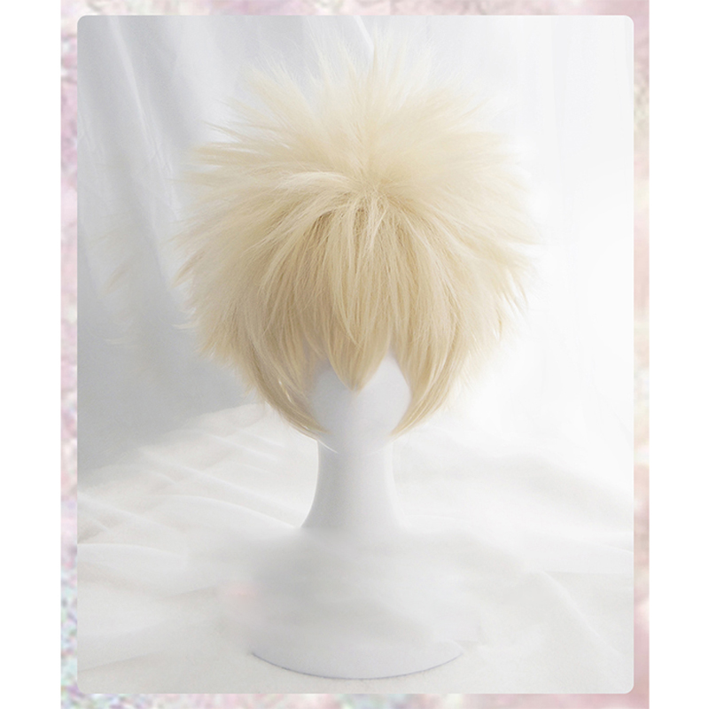 Anime My Hero Academia Baku No Hero Bakugou Katsuki Bakugo Short Linen Blonde Heat Resistant Cosplay Costume Wig+Cap