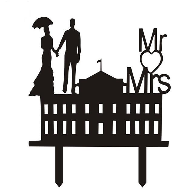 Acryl Braut Brautigam Kuchen Fahnen Mr Mrs Kuchendeckel Schwarz