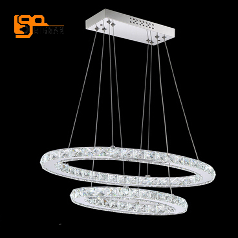 hot sales modern crystal ring chandelier LED light Dia200+400mm hang wire dinning room light