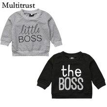 2ccddbf84 2018 Multitrust Brand Newborn Toddler Baby Boys Girls Boss Black Gray  Sweatsuit Tops T-shirt Sweatshirt Clothes Autumn 0-5Y