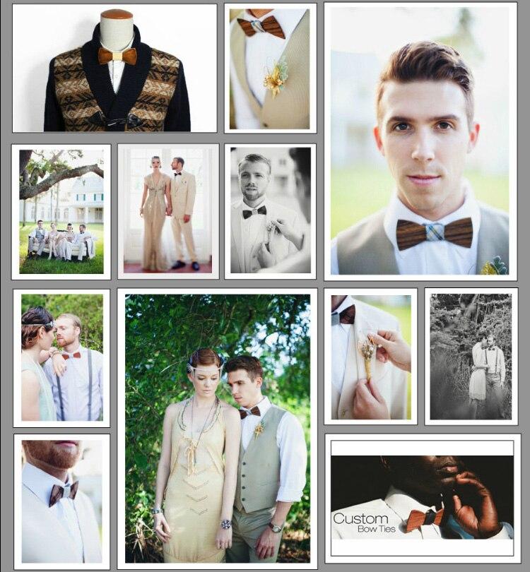 Ücretsiz Kargo 16 Renkler Kumaş ahşap Moda Bowties Erkekler Renkli - Elbise aksesuarları - Fotoğraf 6