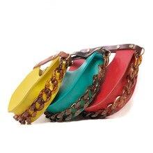 Fashion Designer Womens Handbags Acrylic Chain Half Month Pu Leather Evening Bag Clutch Female Saddle Shoulder Handbag
