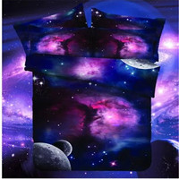 HOT sale Cheap Star 3d Galaxy style bedding sets sci-fi style Duvet Cover Set Twin / Queen Size No quilt