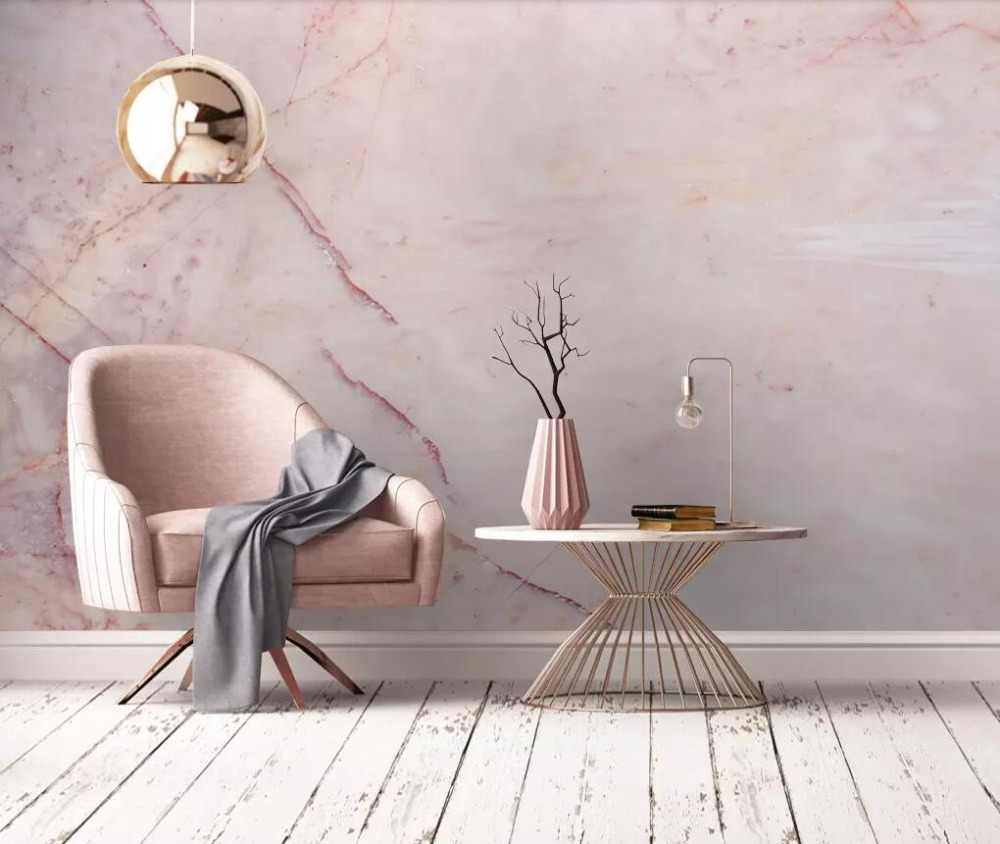Custom fresco pink marbling marble background wall