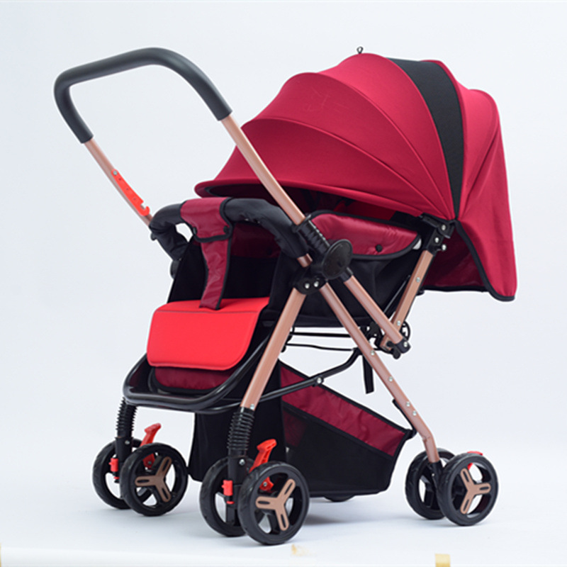 Two-way Reversable Push Handle Baby Stroller Portable Folding Four Wheels Baby Pram 175 Degree Lie Flat Pushchair Baby CarriageTwo-way Reversable Push Handle Baby Stroller Portable Folding Four Wheels Baby Pram 175 Degree Lie Flat Pushchair Baby Carriage