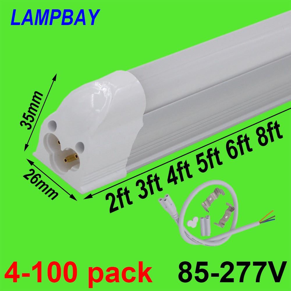 4-100pcs T5 Bulb Integrated Fixture 2ft 3ft 4ft 5ft 6ft 8ft LED Tube Light Linkable Slim Bar Lamp Linear Lighting 85-277V