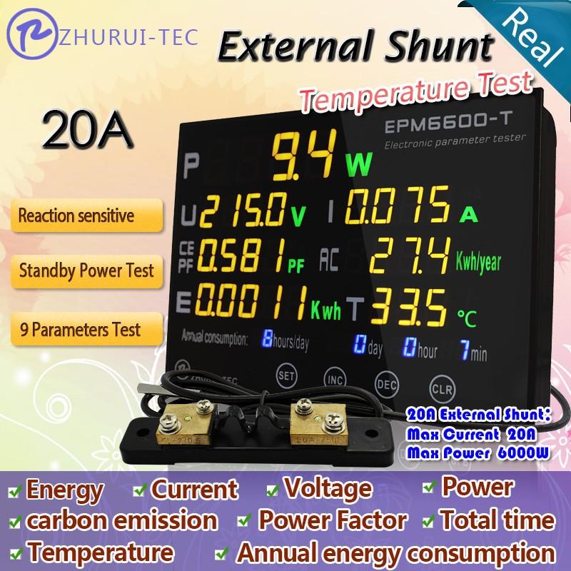 Купить EPM6600-Т 20A/6kw вт метр/испытательное напряжение/ток/мощность/коэффициент мощности/квтч/частота/выбросы углекислого газа/энергии/температура дешево