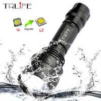 C8 1 Modus Professionelle Jagd Taschenlampe Taktische Flash Licht T6 L2 LED Taschenlampe Wasserdichte Aluminium Wandern für Camping Verwenden 18650