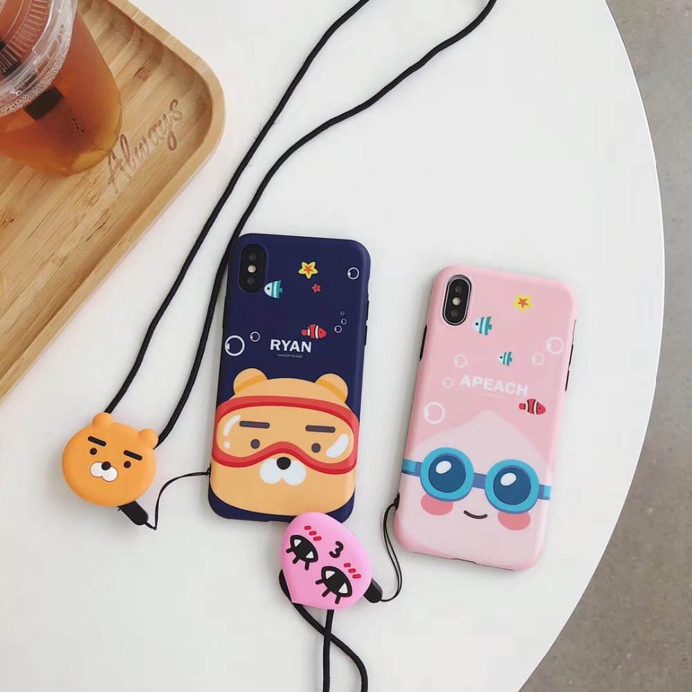 maosenguoji Korea cute Peach lion Lanyard funny Mobile