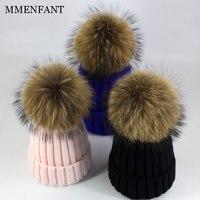 Real Fur Hats Unisex Family Look Women Raccoon Fur Winter Hat Knitted Pom Pom Cap Kids