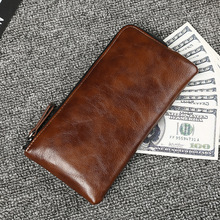 2019 New Men Wallets Vintage Cow Crazy Horse Luxury Leather Good Manual Male Purse Carteira Masculina