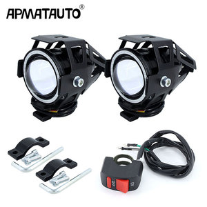 Image 1 - 2PCS x 125W U7 אופנוע עיני מלאך פנס DRL זרקורים עזר בהיר LED אופניים מנורת ערפל אור ספוט אור + מתג