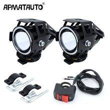 2 шт х 125 Вт U7 мотоциклетные Ангельские глазки фар точечные светильник с DRL вспомогательный яркий светодио дный велосипед противотуманных фар прожектор + коммутатора