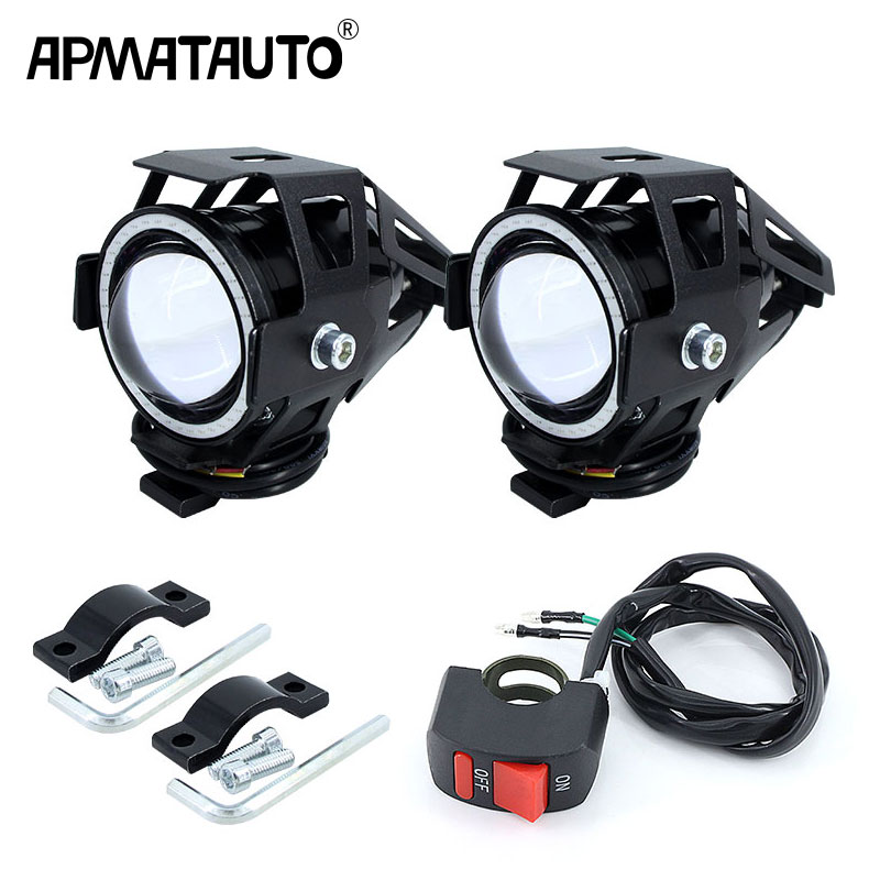 2PCS X 125W U7 Motorcycle Angel Eyes Headlight DRL Spotlights Auxiliary Bright LED Bicycle Lamp Fog Light Spot Light +Switch