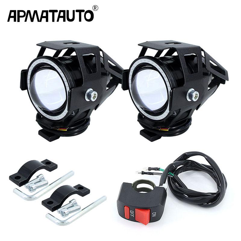 2PCS X 125W U7 Motorcycle Angel Eyes Headlight DRL Spotlights Auxiliary Bright LED Bicycle Lamp Fog Light Spot Light +Switch