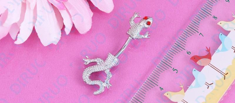 HTB1DomSIpXXXXcPXpXXq6xXFXXXI Crystal Jeweled Lizard Style Silver-Tone Navel Ring - 6 Styles