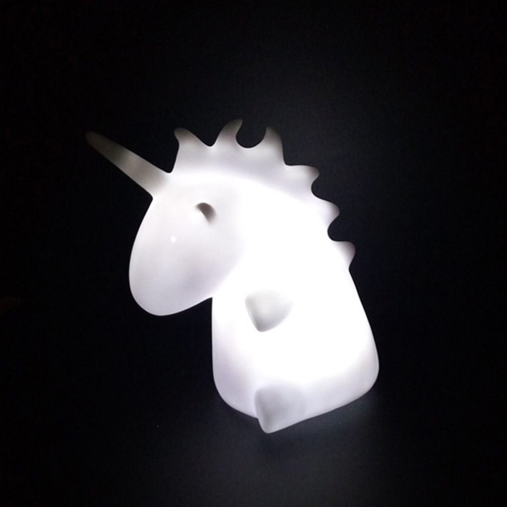 Unicorn Night Light Mini LED Mood Night Lamp Cartoon Toy Intelligence Development White/Colorful Drop Shipping colorful waterdrop cartoon led charging night light
