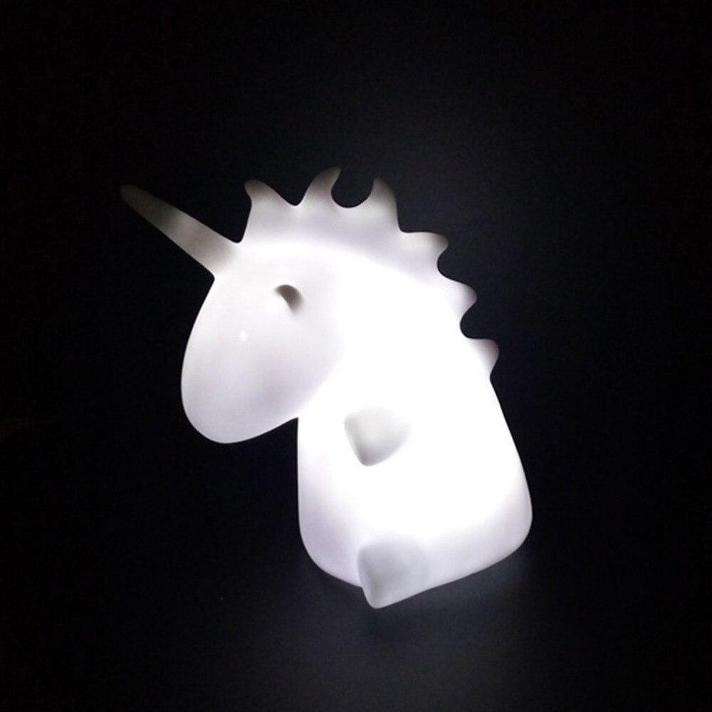 Unicornio luz nocturna Mini LED lámpara de noche dibujo animado juguete inteligencia desarrollo Blanco/colorido Drop Shipping