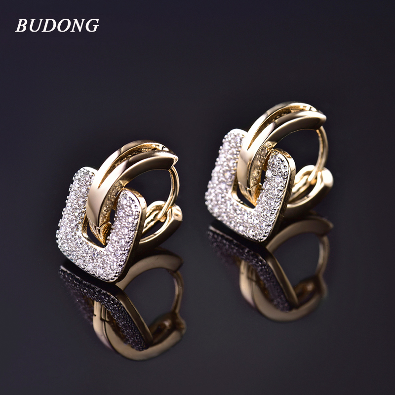 BUDONG 2017 Unique Square Shaped Piercing Huggie Hoop Earring for Women Sølv / Gull-Farge 2 Farger Earing Round Smykker XUE218