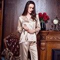 Clásico Satén Conjunto de Pijama de las mujeres de Pijama Largos M-XXL