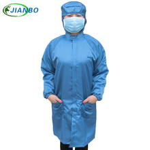 Hooded Long Coat Cleanroom Antistatic Protective Clothing Dust-proof Workshop Food Factory Laboratory Uniforms Working Coat