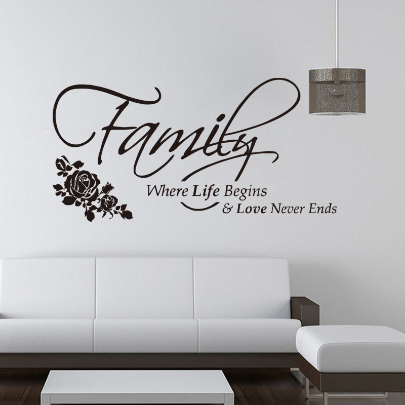 Family Where Life Begins Quote Vinyl Wall Sticker Home Decoration Decal Removable Vinyl Art Murals