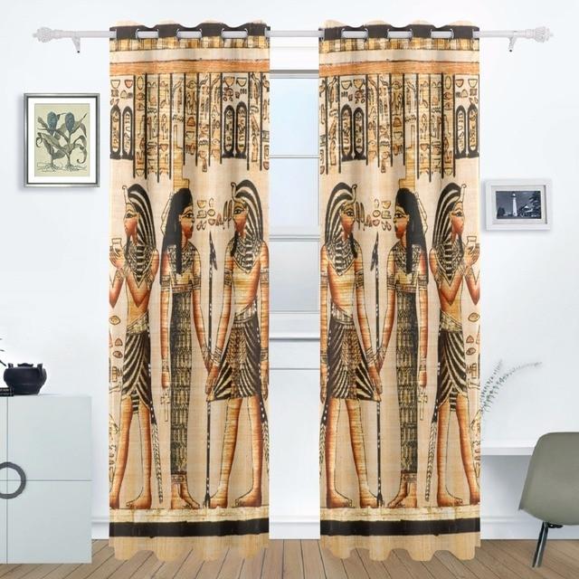 2017 Ancient Egypt Art Curtains Drapes Panels Window Blackout Curtain  Divider For Patio Window Sliding Glass
