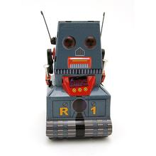 Classic collection Retro Clockwork Wind up Metal Walking Tin Tank moon probe robot recall Mechanical toy kids gift iron metal toy wind up toys metal robot car train collection photography props christmas gift walk rotating sound