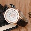 3 Colores de diamantes de Imitación de Mujer de Cuarzo de la Muñeca Banda de Cuero Correa de Reloj Elegante de La Flor de Cristal Moderno Muchacha de Las Señoras Relojes Reloj Femenina