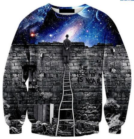 Very popular style Mens 3d sweatshirts print A person watch the space meteor shower casual Stairs ladder hoodies