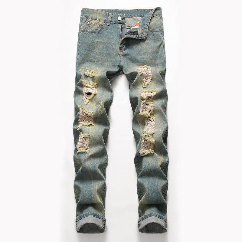 MORUANCLE Men Vintage Destroyed Jeans Pants Straight Ripped Denim Trousers For Male Distressed Jeans With Holes Plus Size 29-42
