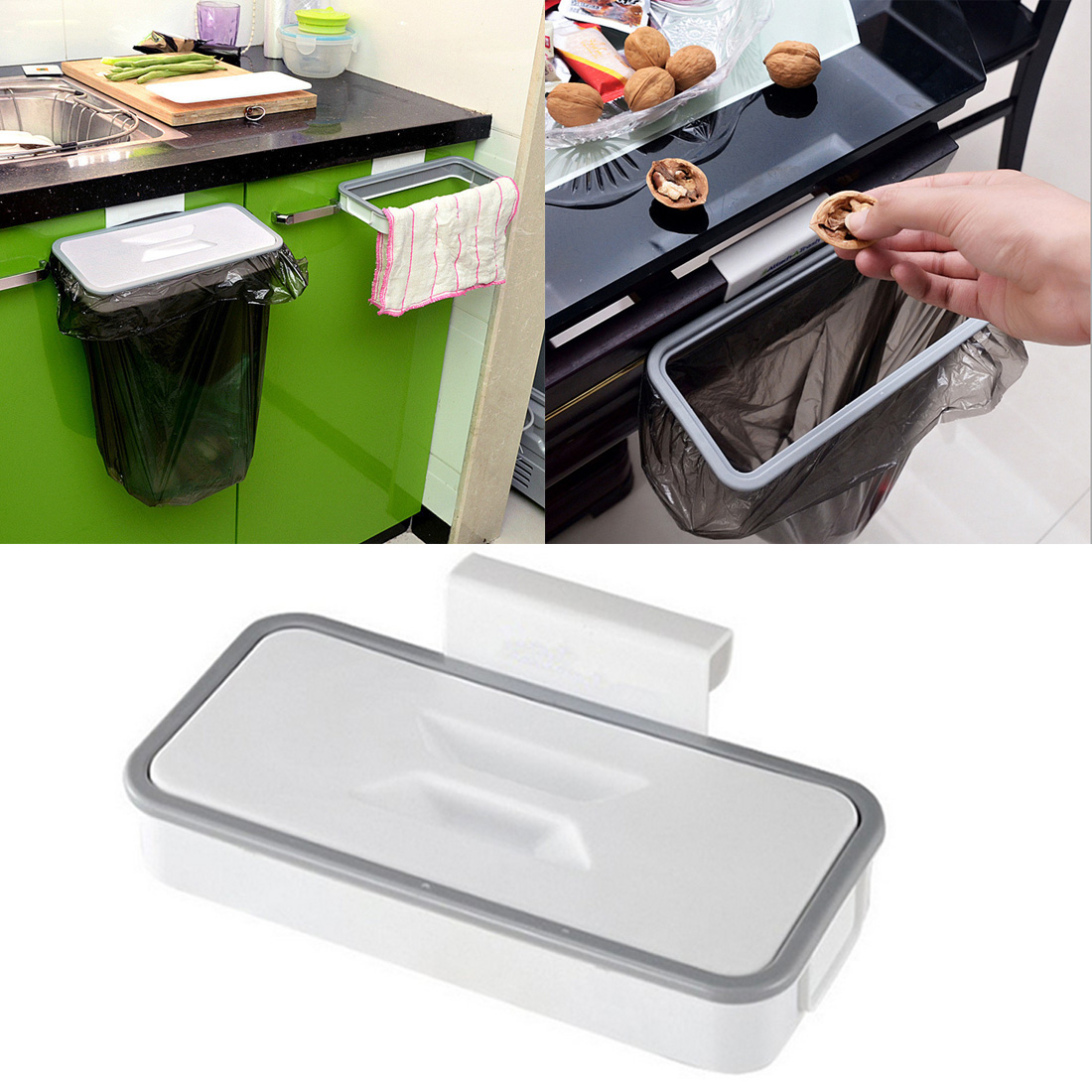 Kitchen Cupboard Back Trash Rack Cabinet Door Garbage Bag Trash Rack Holder Hanging kitchen Rubbish Bag Storage Tool with lid