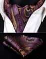 RP927TS Purple Orange Paisley Men Silk Cravat Scarves Ascot Tie Handkerchief Set Party Classic Pocket Square Wedding