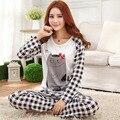 Para mujer Delgada Pijama de Manga Larga ropa de Dormir Pijamas de Dibujos Animados de Poliéster ropa de dormir Pijamas Tops y pantalones Tamaño Ml XL P5