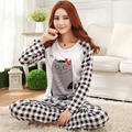 Womens Thin Pajama Sets Long Sleeve Sleepwear Polyester Pyjamas Cartoon Nightwear Pajamas Tops and Pants trousers Size M L XL P5