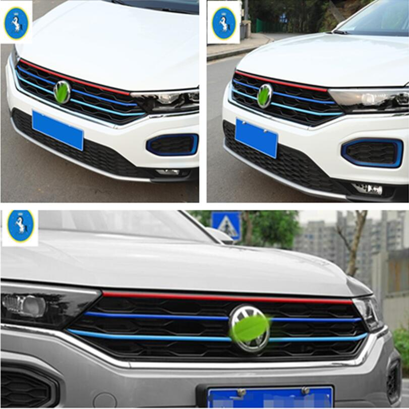 Yimaautotrims Auto Accessory Front Face Center Grille Grill Lid Strip Cover Trim 5 Pcs Fit For Volkswagen T-Roc T Roc 2018 2019 grille