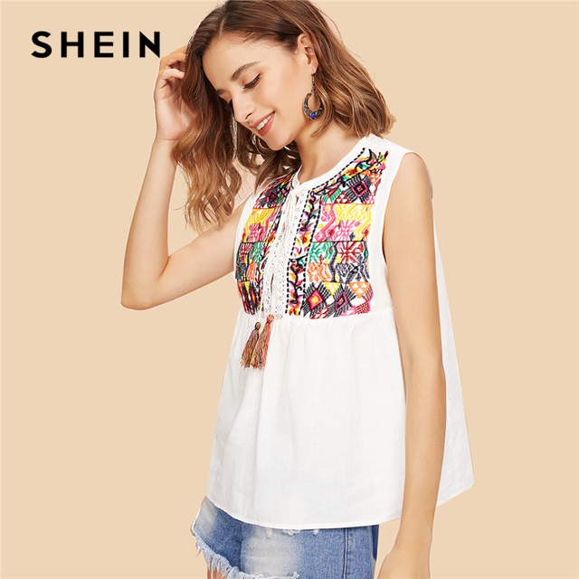 6760c3a1e9 SHEIN Beige Vacation Boho Bohemian Beach Round Neck Sleeveless Tassel Tie Geometric  Embroidered Blouse Summer Women Shirt Top