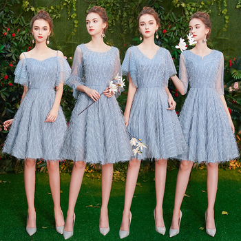 Pretty Short Light Blue Lace Eveing Dresses 2019 for Women Formal New Style Party Prom Reflective Dresses Homecoming Dresses