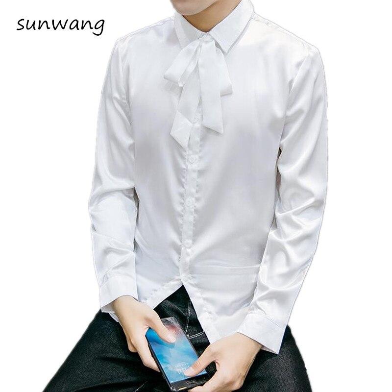 2017 fashion mens long sleeve silk shirts lace bow tie for Turkey mens designer shirts